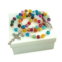 Personalised Rosary Mulitcoloured Agate Gemstones
